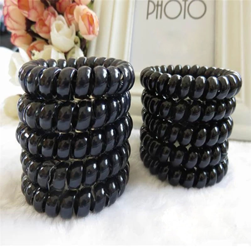 10PCS/lot Women Ladies Girls Hair Bands Hot Black Elastic Rubber Telephone Wire Style Hair Ties & Plastic Rope Hair Accessories(China (Mainland))