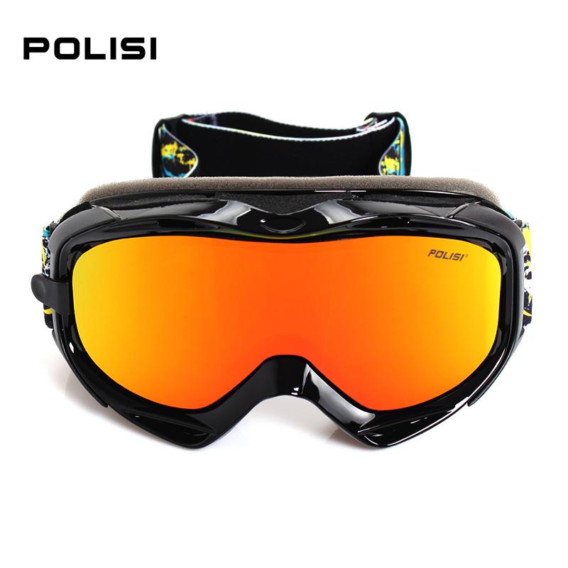 POLISI Snowboarding Skate  Outdoor Sports Goggles Uv Skiing Sun Glasses Eyewear Professional Anti-Fog Ski Goggles Black 808