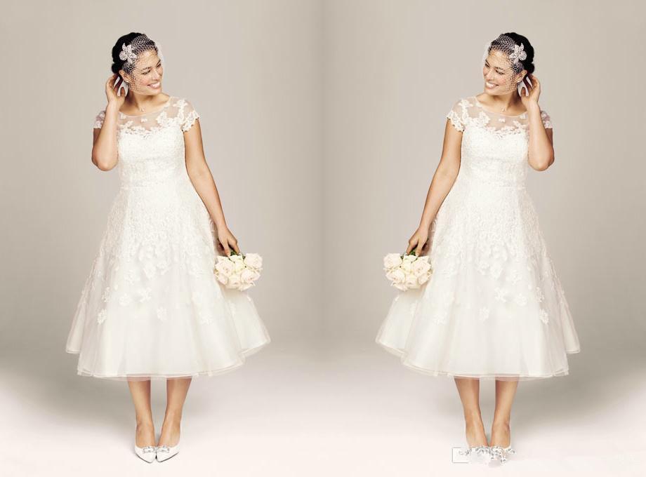 Classic tea length beach wedding dress with sleeves 2015 for Plus size tea length wedding dresses