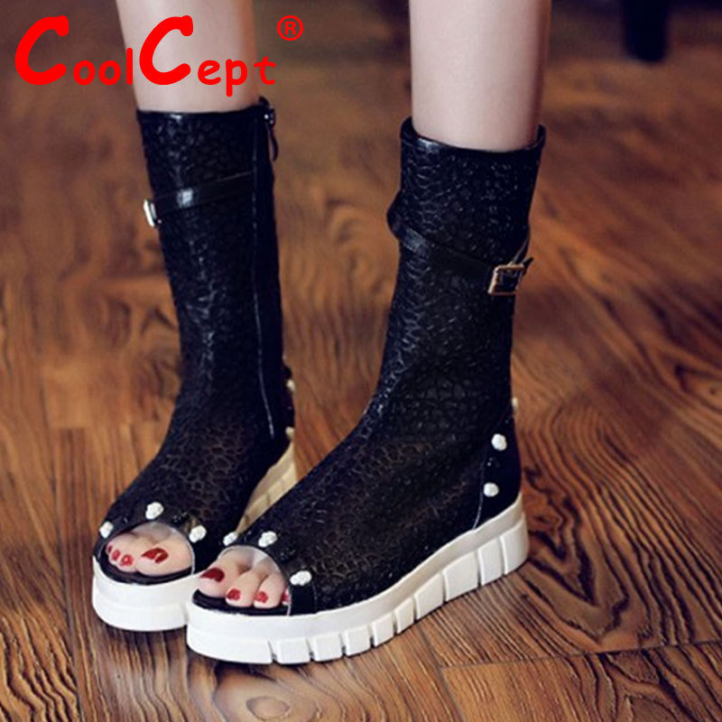 women real genuine leather rivets peep toe flat sandals brand sexy fashion heeled ladies shoes size 34-39 R6407<br><br>Aliexpress