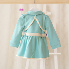 AD 4 24M Formal Baby Girls Jacket Blue Bow Beads Quality Winter Spring Baby Coat Warm