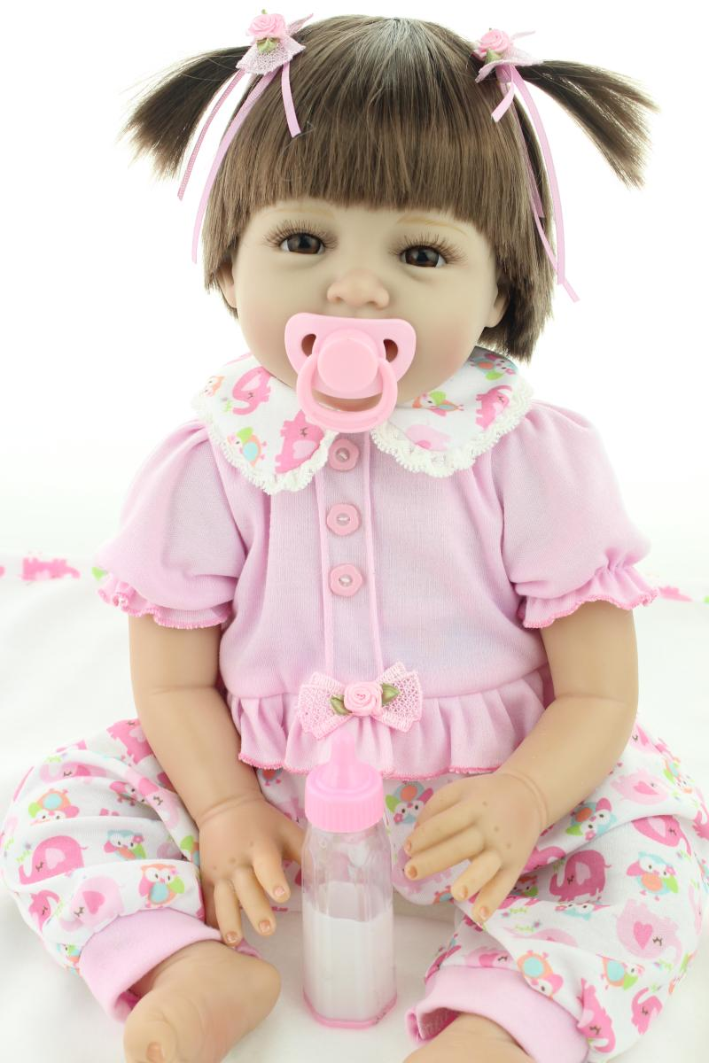 Baby doll silica gel soft toy doll rooted hair 22 inch 55CM baby silicone vinyl dolls(China (Mainland))