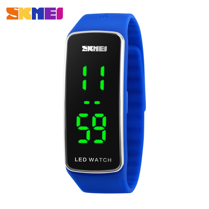 2016 New Women Bracelet Watches Girl Candy Silicone Strap Square Dial LED Digital Watch Sport Men