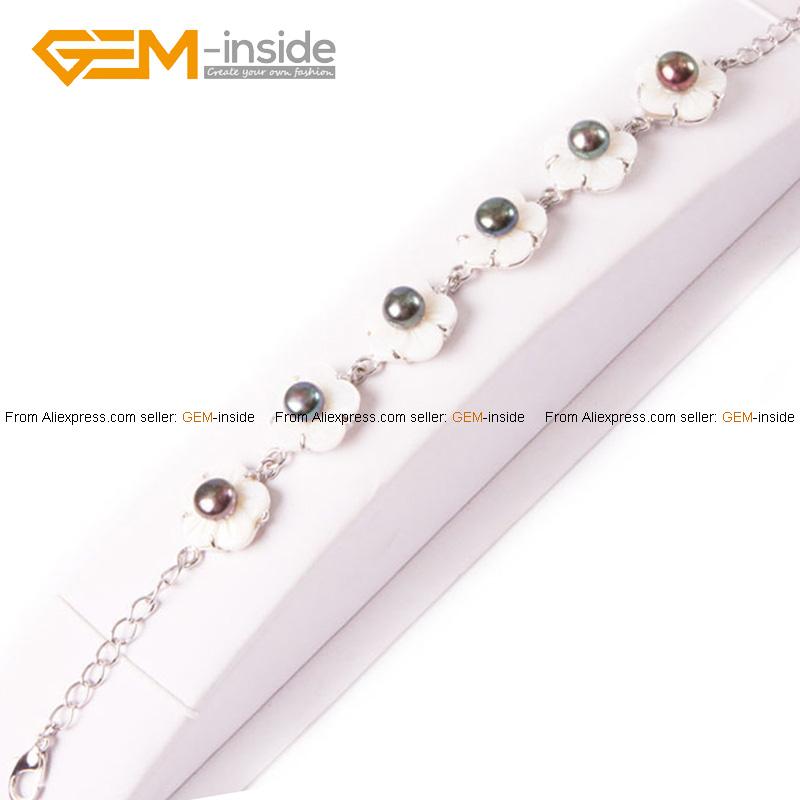 6-7mm cultured pearl flower shell gold plated bracelet adjustable size 7.5' - GEM-inside store