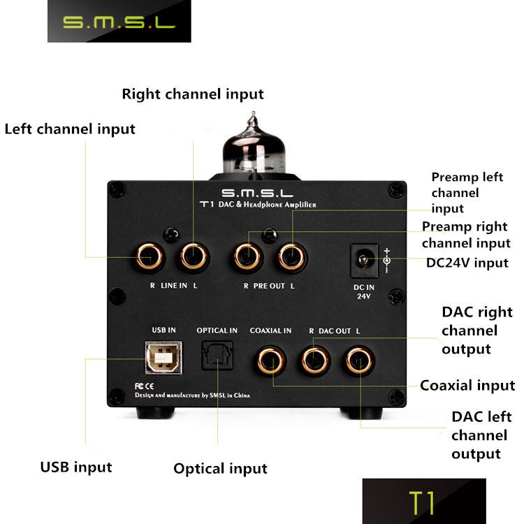 New SMSL T1 AK4490EQ+CM6632A DSD512 Tube Headphone Amplifier 384KHZ/32Bit OPTIC/Coaxial/XMOS/USB DAC Digital Tubes Earphone Amp