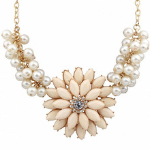 Big Resin Flower Rhinestone Simulated Pearl Statement Necklace Women Summer Style Necklaces Pendants Colar Jewelry For