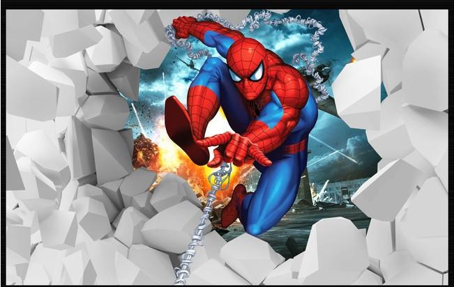 Popular spiderman wall paper buy cheap spiderman wall for Wallpaper 3d kids