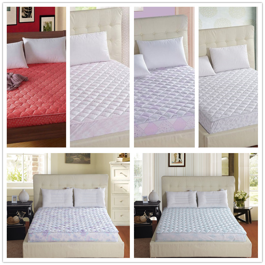 bed protection pad quilted mattress protector hotel mattress cover cotton twin queen king size bright colored diamond quilting(China (Mainland))