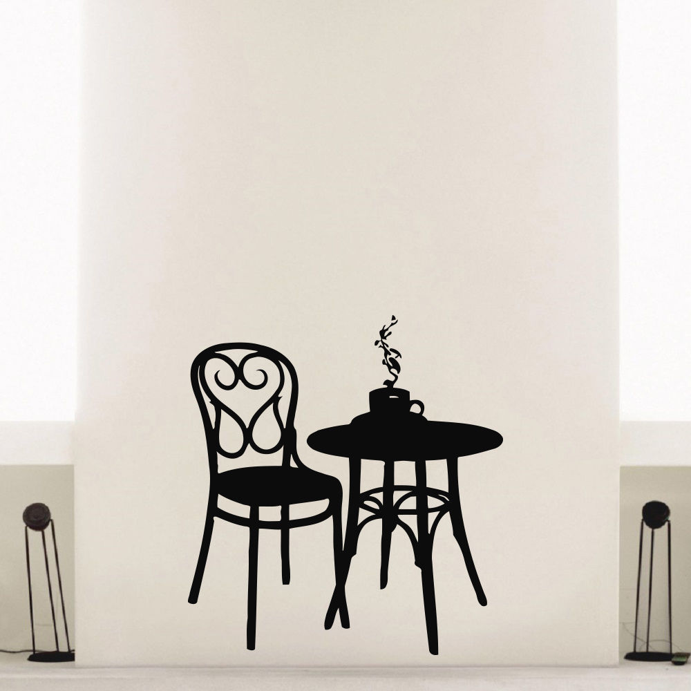 2015 Free Shipping Coffee Shop Vinyl Wall Decal Coffee Tea Cafe Restaurant Wall Decoration Table Chair Mural Art Wall Sticker(China (Mainland))