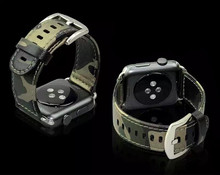 38mm 42mm Camouflage Army Green Special Forces Design Genuine Leather Sports Outdoors Iwatch Band Bracelet Strap for Apple Watch