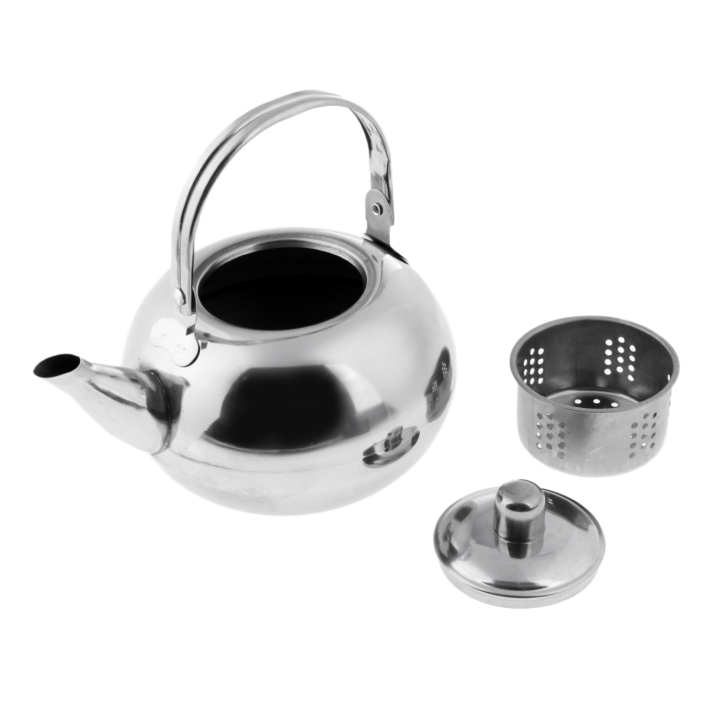MagiDeal 1000ml//1500ml//2000ml//2500ml Durable Outdoor Camping Stainless Steel Tea Kettle Waterpot Silver//Gold