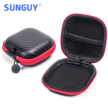 SUNGUY Earphone&Headphone Bag Portable Mini Square Snakeskin Black/Red Earbuds Carry Cases (100pcs/lot DHL Free Shipping to USA)