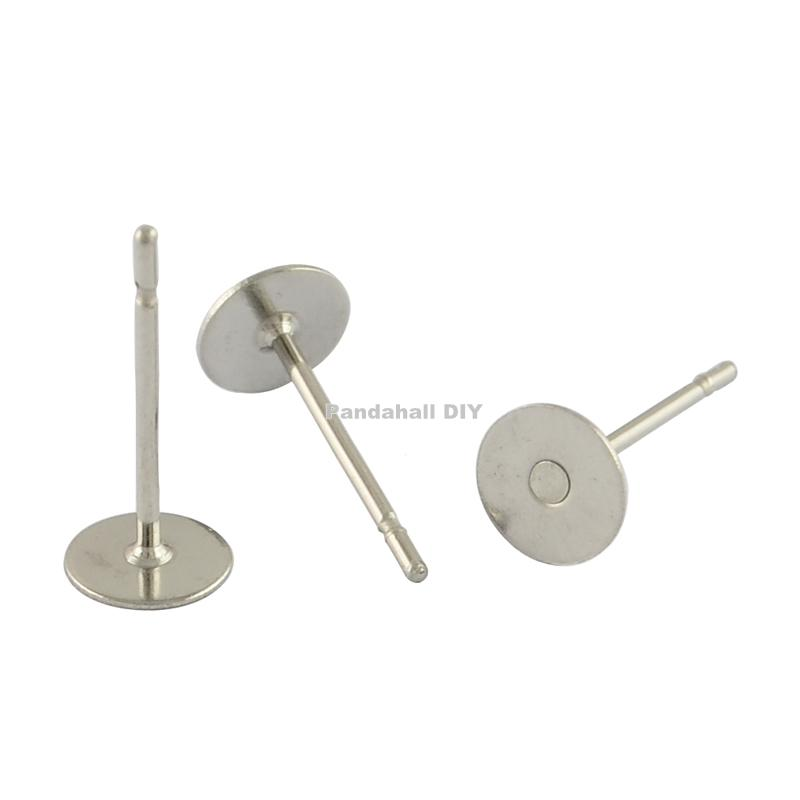 Stainless steel flat round blank peg ear stud