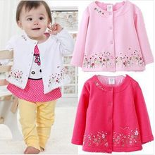 Spring 2015 Children's Clothing female Baby Girls long-sleeved cardigan jacket coat embroidered pink flowers Kids clothes