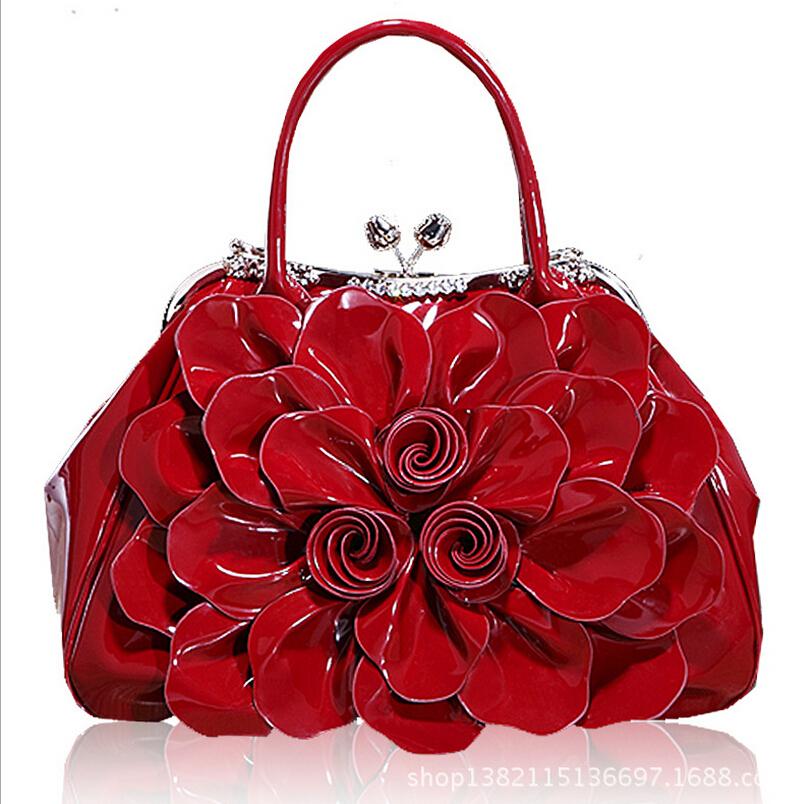 tote bag 2016 women genuine patent leather handbags crossbody shoulder bag OL commuter flower packages bridal handbag(China (Mainland))