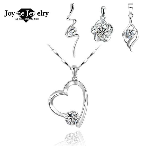 Joyme brand women summer style jewelry 925 silver necklaces cubic zirconia pendant necklace simple short necklaces(China (Mainland))