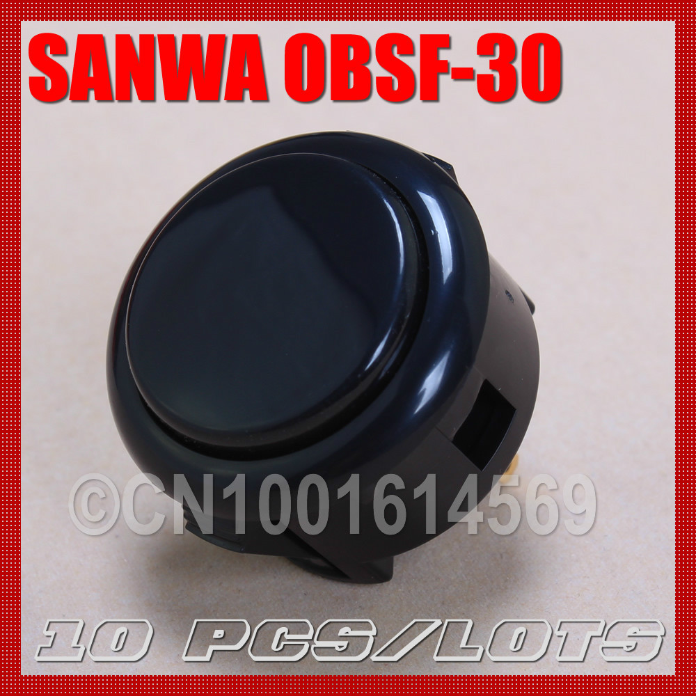 10 pcs/lot NEW ORIGINAL JAPAN SANWA OBSF-30 ARCADE BUTTON 6# BLACK ARCADE PUSH BUTTON PERFECT REPLACE FOR OBSN-30 OBSC-30 BUTTON(China (Mainland))