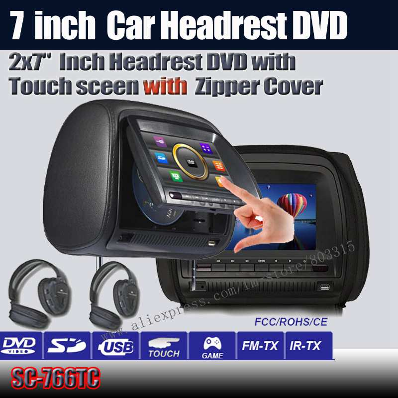 free shipping 2X7 inch car headrest dvd with touch screen and with zipper +IR wirelss headphone 32bit game+IR+USB+SD+FM(China (Mainland))
