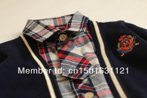 2013new2014 boy's sweater checks shirt 2pc set(China (Mainland))