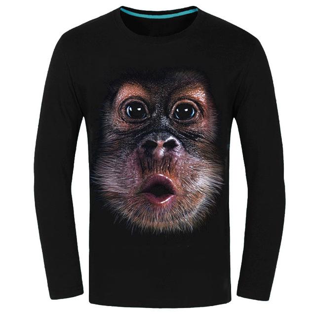 Новое поступление весна осень хлопок майки с длинным рукавом майки топы мода 3D печать обезьяна причинно футболки мужской CT007