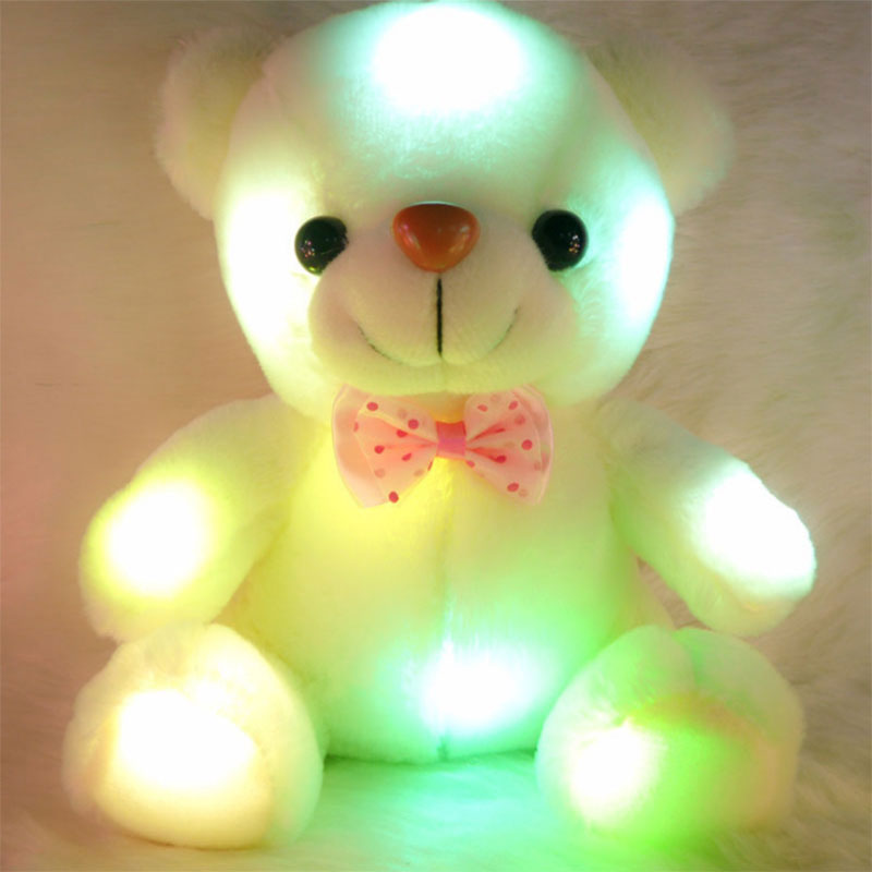 Colorful LED Flash Light Bear Doll Plush Stuffed Toys 22 cm Bear Gift Stuffed For Children and Lovers Valentie's Day HT3635(China (Mainland))