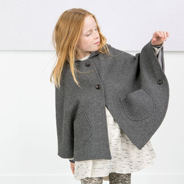 Babies Girls Hoodie Wool Blend Capes Poncho Gray Color Batwing Sleeve Pockets Casual Fashion Jackets Outwears Fall Winter Clothi<br><br>Aliexpress