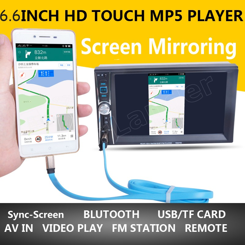 Car Radio MP5 MP4 Player stereo FM video Bluetooth 2 DIN 6.6 inch FM for android screen mirroring support rear camera/DVR input