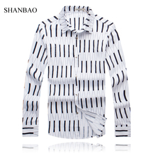 2016 New Style Fashion Brand Men Shirts Long Sleeve Geometric Print Shirt Men Slim Fit Social Chemise Homme Mens Dress Shirt 5XL(China (Mainland))