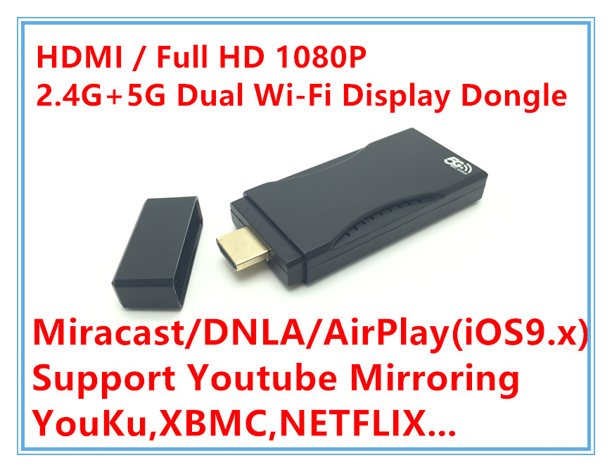 Support Youtube Dual Band 5.8G&2.4G Screen Mirroring Wireless Display Receiver DLNA Airplay Miracast HDMI 1080P Media players(Hong Kong)