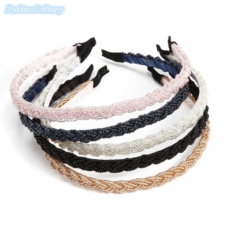 5pcs/lot New Style Narrow Hair Hoop Fashion Little Beads Headband Women Hair Accessories Elegant Handmade Beaded Hair Bands(China (Mainland))