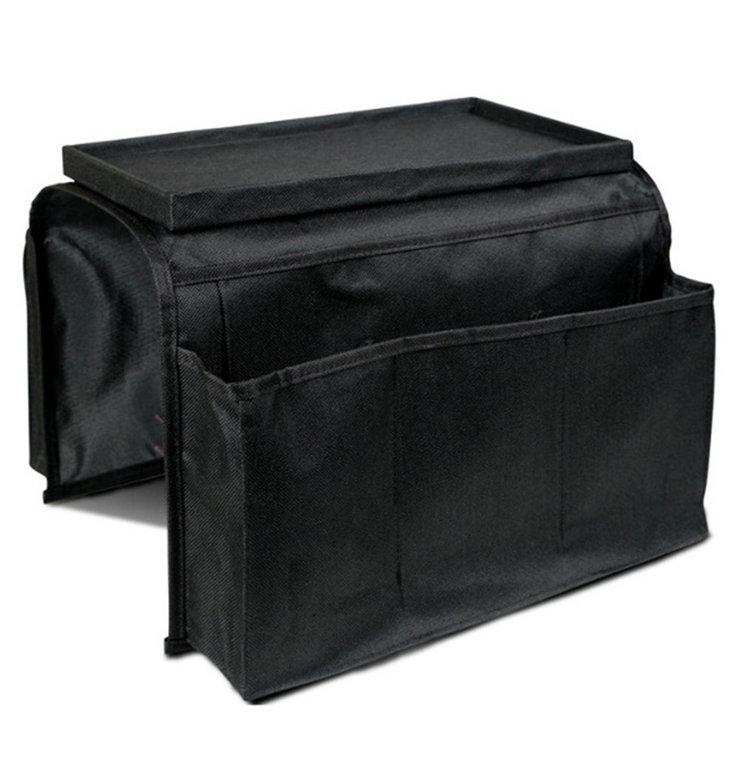 Black Sofa Holder Bag Coach Sofa Edge Arm Rest Organizer Storage Box Remote Control Holder(China (Mainland))