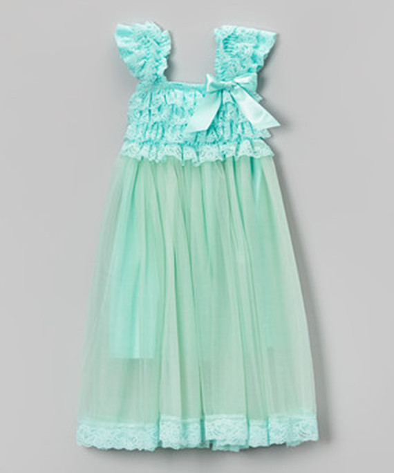Girls Boutique Clothing Lace Ruffle Flower Girls dress Aqua Tutu Dress with cap sleeve new model(China (Mainland))