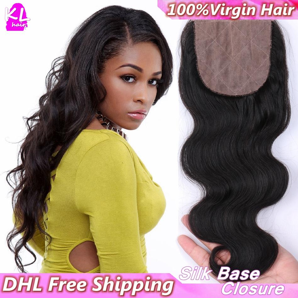 Free Shipping,7A Grade Brazilian Body Wave Silk Base Closure With Baby Hair Bleached Knots Human Hair Silk Lace Closure(China (Mainland))