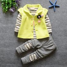 2016 new fashion baby flower girls coat striped t shirt pants 3pcs set children free