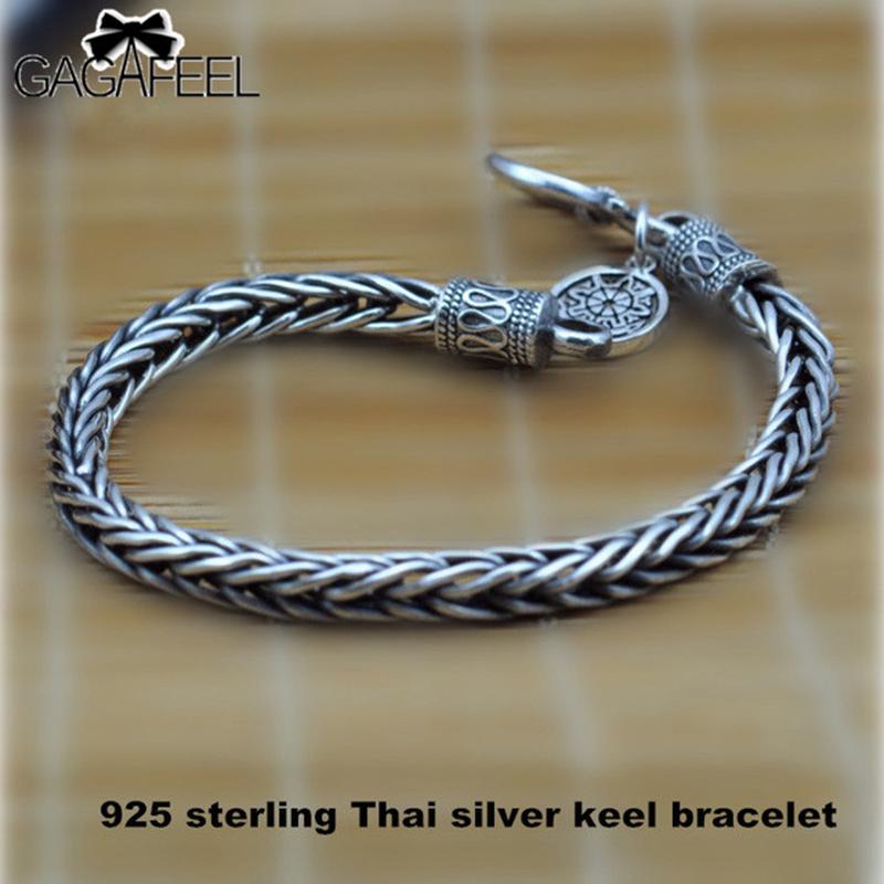 GAGAFEEL Men bracele Genuine 100% Real Pure 925 Sterling Silver dragon bone Men jewelry fine jewelry(China (Mainland))