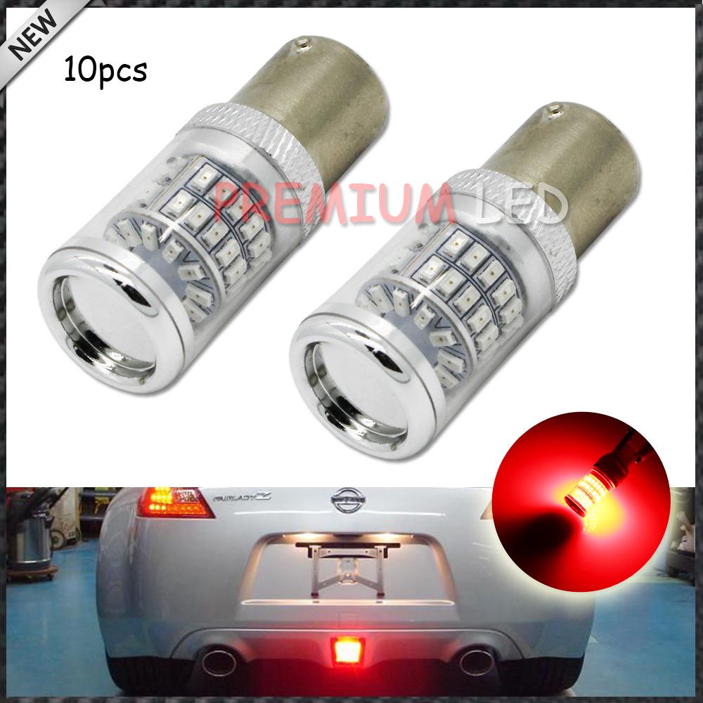 10шт блестящий Красный безошибочной 1156 s25 обратные Б. А. 15 светодиодных ламп с отражателем конструкции зеркала для автомобиля света сигнала поворота, стоп-сигналы