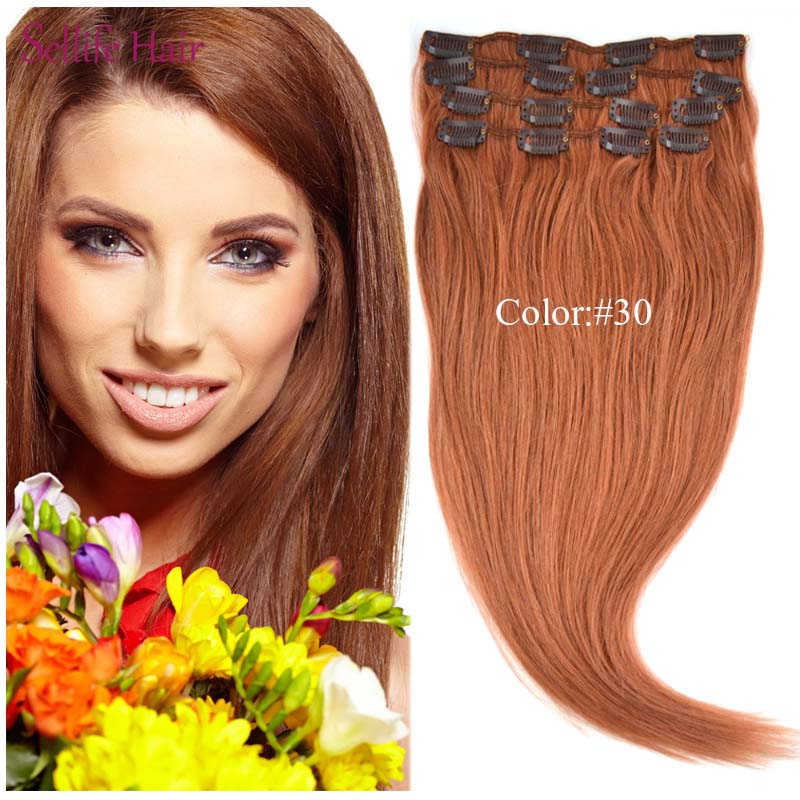 Factory Price High Quality 100% Natural Hair Extensions 151820 70g Clip In On Female Straight Hair #30 Light Auburn <br><br>Aliexpress