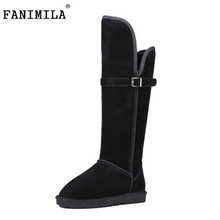 Winter Real Leather Women Knee Boots Thickend Fur Snow Method Two Fashion Buckle Casual Shoes Botas Mujer Size 34-40 - Shop1267192 Store store