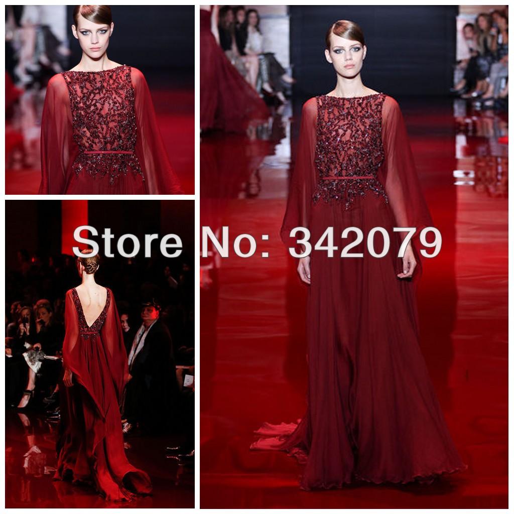 ph03391 red ruby chiffon kaftan embroideredd bodice open v back haute couture dubai kaftan elie saab prom dresses(China (Mainland))