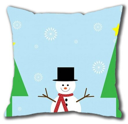 E-luckiycase Christmas Snowman for Square pillowCase Cover 18 X 18 Inch Two SidesFree Shipping(China (Mainland))