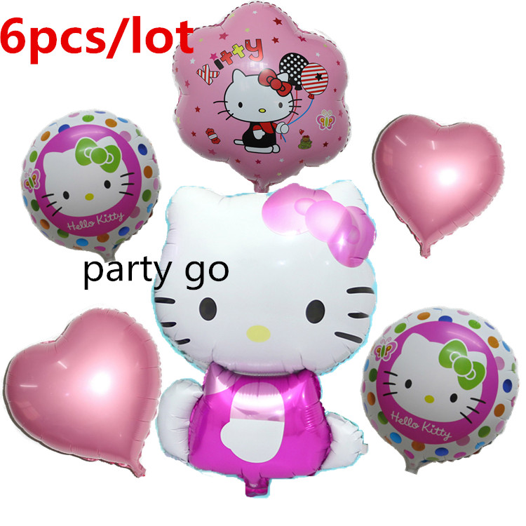 Hello kitty Birthday Party Decorations Air Balls New Arrival 6pcs KT cat Cartoon Foil Balloon Kids 1 Year ClassicToys Supplies(China (Mainland))