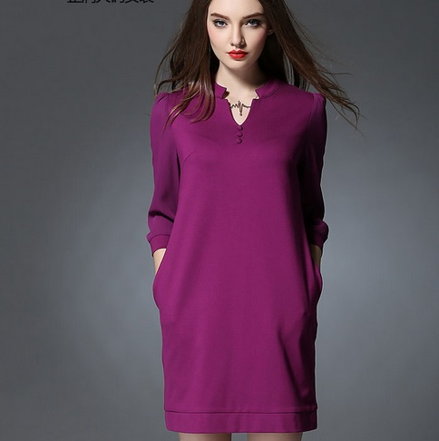 Plus size autumn and spring women Puff Sleeve dress elegant vestido de renda slim casual loose bodycon dresses pure color JS844(China (Mainland))