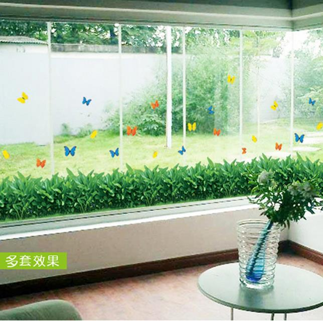 3D pvc wall stickers decorative glass paste butterfly skirt grass green grass skirting wall stickers decorative balcony stairs(China (Mainland))