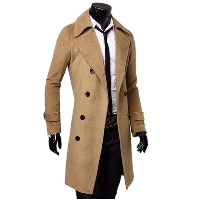 Черный / верблюд / темно-серый мужской плащ британский стиль двубортный длинное пальто ...