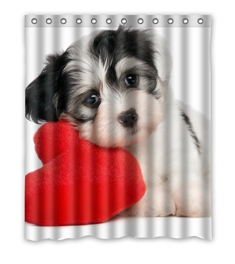 Lover Valentine puppy Custom Shower Curtain 60'(w)x72'(h)(China (Mainland))