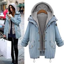 2016 Fashion Puls Size Denim Coats Hoodie Jackets Women Oversized Coat Zipper Pocket Button Overcoat Hooded Outerwear M-4XL