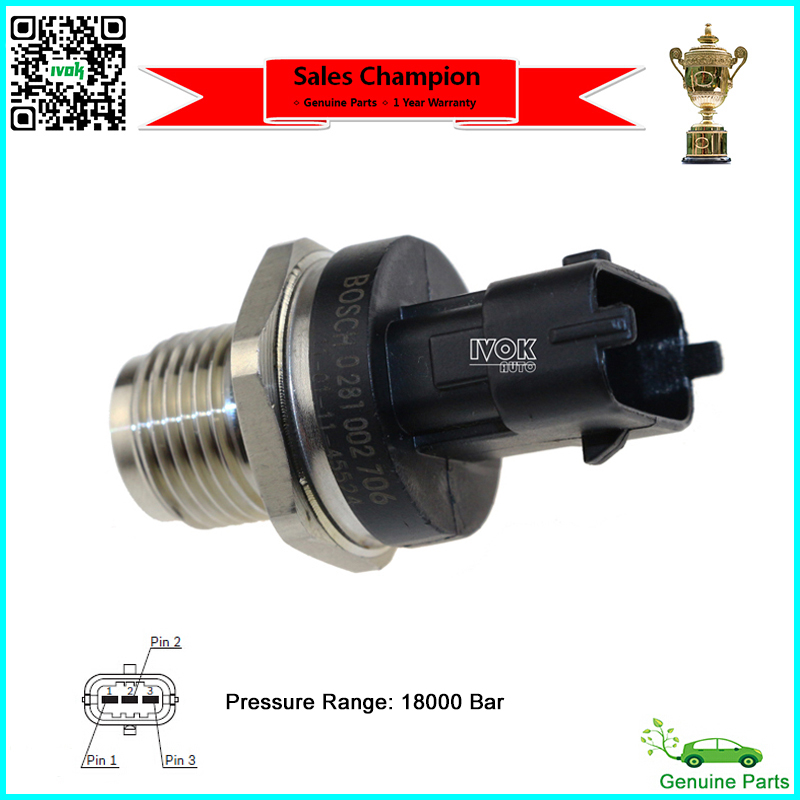 Newest! For BOSCH Fuel Rail Pressure Sensor 0281002706, 0281002903, 0281002937 For CUMMINS VOLVO IVECO MAN FIAT JACK RENAULT(China (Mainland))