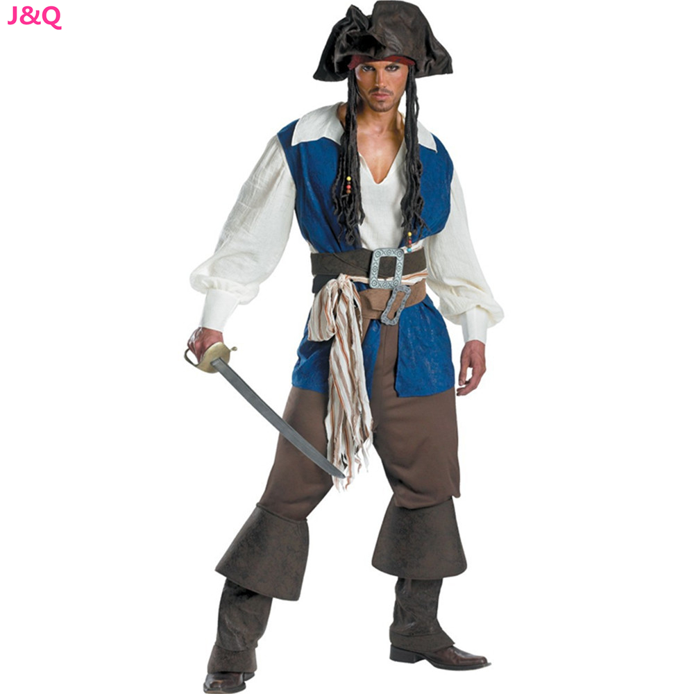 M - XL Exports Uniform Man Pirate Jack Cosplay Costumes Pirates of the Caribbean Halloween Disfraces Game Male Clothing H151233(China (Mainland))