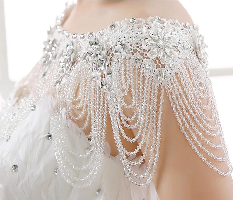Bridal Imitation Diamond Crystal Rhinestone Shoulder Deco Bib Halter Large Beaded Necklace Wedding Wrap Free Shipping BSN702(China (Mainland))