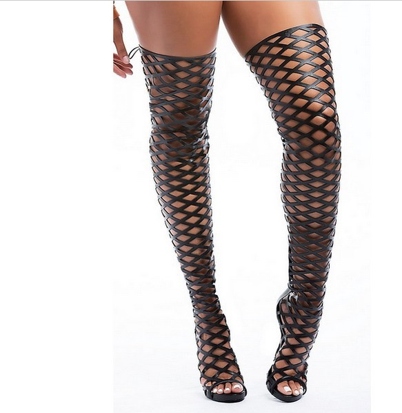 2016 Summer Rome Europe type zipper knee hole paragraph stiletto fish mouth female cool boots long canister(China (Mainland))